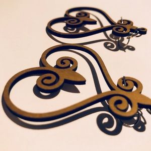 Baroque Scrollwork Natural Wooden Heart Earrings